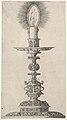 Candlestick with Lighted Candle from- Insigne Ac Plane Novum Opus Cratero graphicum; Ein new kunnstbuch (...) von allerley trinnckgeschiren Credenntzen unnd Bechernn (...) MET DP822265.jpg