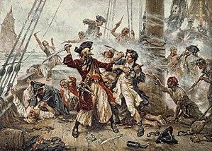 Blackbeard - Capture of the Pirate, Blackbeard, 1718, Jean Leon Gerome Ferris, painted in 1920