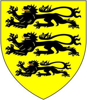 Arms of Carew: Or, three lions passant in pale sable CarewArms.png