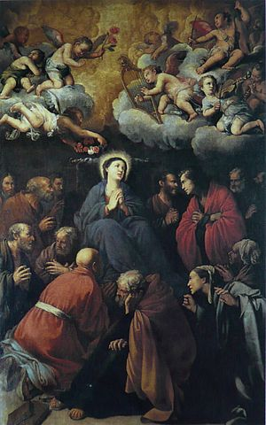 Death of the Virgin (Caravaggio) - Carlo Saraceni, Death of the Virgin, 459 x 273 cm, Santa Maria della Scala, Rome