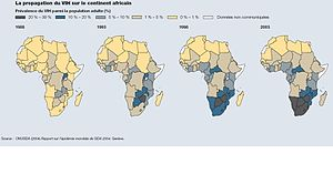 HIV/AIDS in Zambia - Prevalence of AIDS in Africa over the years. Zambia in 10–20% band
