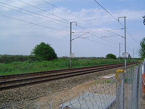 25 kV AC railway electrification - 2 × 25 kV overhead line system in France between Paris and Caen