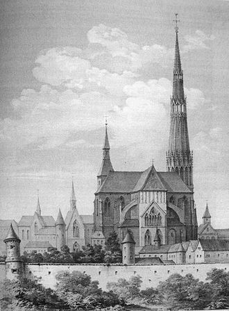 Châlons Cathedral - Image: Cathédrale avant 1668 incendie gravure
