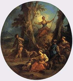 "Pierre-Jacques Cazes - ""The Swing"" — by Pierre-Jacques Cazes, 1732."