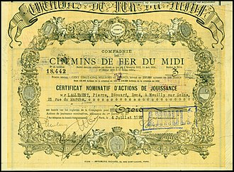 Chemins de fer du Midi - Participation certificate of the Compagnie des Chemins de Fer du Midi, issued 4. July 1927