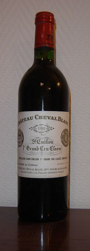 Château Cheval Blanc - A bottle of the 1981 vintage of Château Cheval Blanc