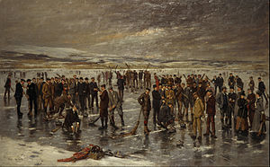 Royal Caledonian Curling Club - Curling at Carsebreck by Charles Martin Hardie. Commissioned by the club in 1899 to celebrate its Diamond Jubilee. Now in the collections of the National Gallery of Scotland.