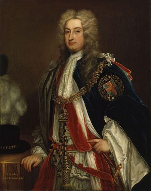 Charles Townshend, 2nd Viscount Townshend - Charles, Viscount Townshend, after Kneller c. 1715–20. Dressed in Garter robes (National Portrait Gallery)