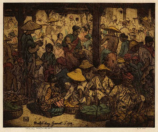 Charles William Bartlett. Market Day, Garoet. Java., c. 1923, Etching, engraving; hand-colored with watercolor.