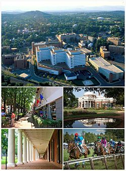 Clockwise from top: The Charlottesville skyline with the University of Virginia Health System in the foreground, Monticello, the Foxfield Races, the colonnades along the Lawn, and the Downtown Mall.