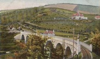 Chelfham railway station - Image: Chelfham railway station and viaduct