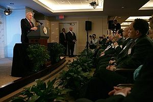 American Enterprise Institute - Vice President Dick Cheney delivers his remarks on the war on terror, arguing against a withdrawal from Iraq, during a speech, Nov. 21, 2005, at the American Enterprise Institute. Michael Rubin is on the right in the front row.