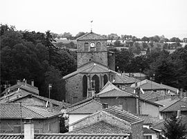 The church and surrounding buildings in Chevrières
