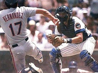 Jody Davis (baseball) - Davis (right) defending home plate for the Cubs