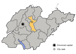 Zibo is highlighted on this map of Shandong Province.