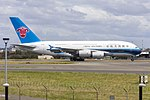 China Southern Airlines (B-6136) Airbus A380-841 departing Sydney Airport (1).jpg