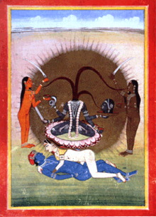 A decapitated, nude, four-armed, grey-complexioned woman seats on a lotus over a copulating couple. She holds her own severed head, a skull-cup, a serpent and a sword. Three streams of blood from her neck feed her head and two nude, standing women (a orange one and another brown-coloured) holding a sword and a skull-cup, who flank her.