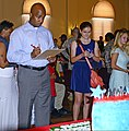 Chris Rey, left, the mayor of Spring Lake, N.C., inspects a cake at the 2nd annual Army Birthday Cake Challenge at the Fayetteville Veteran Affairs Medical Center auditorium in Fayetteville, N.C., June 12, 2013 130612-A-AD413-568.jpg