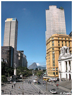 Cinelândia - View of Cinelândia square towards Guanabara bay and the Sugar Loaf