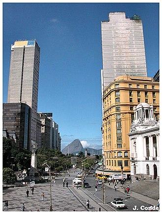 Cinelândia - View of Cinelândia square towards Guanabara bay and the Sugar Loaf