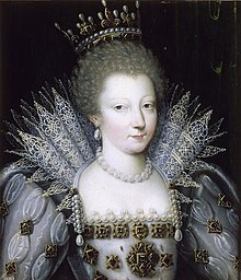 Circa 1610 portrait of Louise Marguerite of Lorraine as Princess of Conti wearing a crown (Musée Condé).jpg