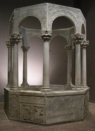 Fonte battesimale del patriarca Callisto, 730-740. Cividale del Friuli, Museo diocesano cristiano e del tesoro del duomo di Cividale del Friuli.
