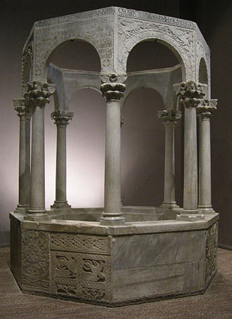Longobards in Italy, Places of Power (568–774 A.D.) - Image: Cividale, museo cristiano, battistero di callisto 01