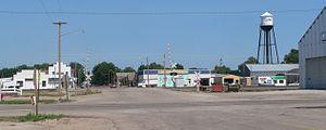 Clarks, Nebraska - Downtown Clarks: Green Street, seen from across U.S. Highway 30