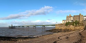 Clevedon Pier - The pier is next to the Royal Pier Hotel; the beach in front is a site of special scientific interest