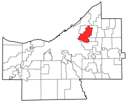 Location of Cleveland Heights in Cuyahoga County