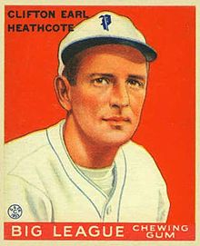 "A baseball-card image of a man in a white baseball uniform and cap with an Old English ""P"" on the front in blue"
