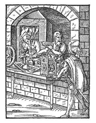 Clockmaker - Woodcut of early modern clockmakers, 1568