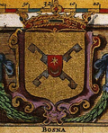 1668 representation by Joan Blaeu of Coat of arms of the Kingdom of Bosnia from 1595 Korenić-Neorić Armorial