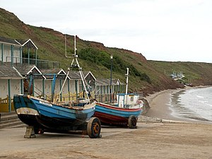 English: Coble Landing Filey looking to the Sa...