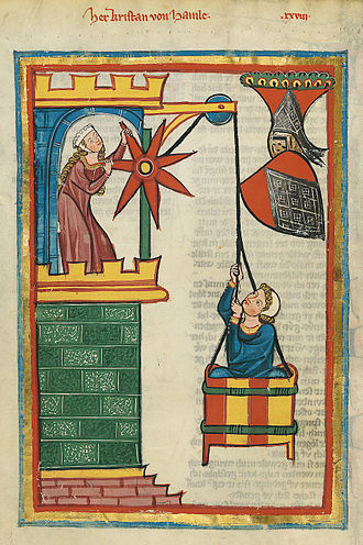 Elevated entrance - The rope lift as a means of entry (Codex Manesse)