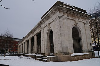 Hall of Memory, Birmingham - The colonnade, now in St. Thomas' Peace Garden