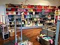 "Colorful wool knitting yarn at display for sale in shop in Leirvik, Stord, Norway (ullgarn, strikkegarn i ""Ullkroken"" garnbutikk) 2018-03-09.jpg"