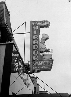 Italian Canadians - Sign of Mirador, a restaurant in Montreal owned by an Italian immigrant, July 1948
