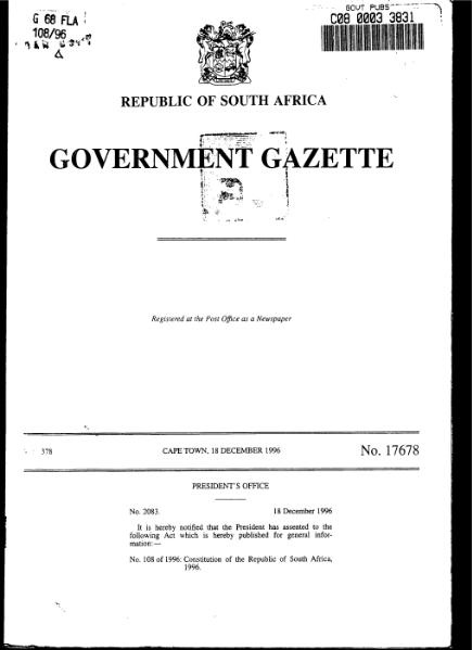 File:Constitution of the Republic of South Africa 1996 from Government Gazette.djvu