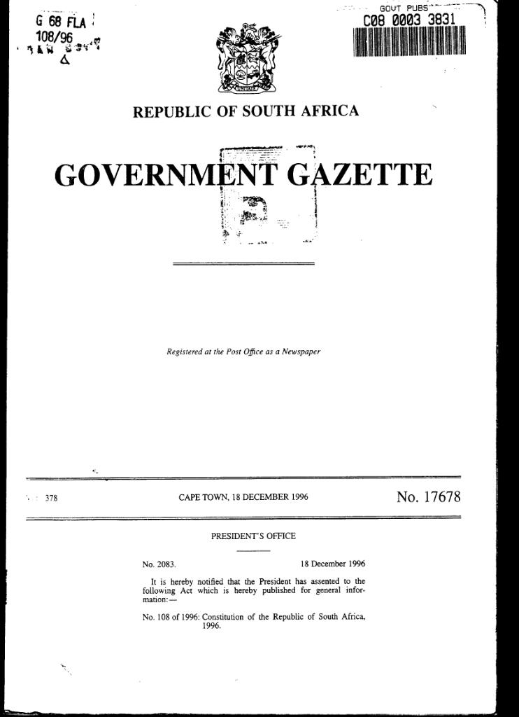 the constitution of south africa pdf