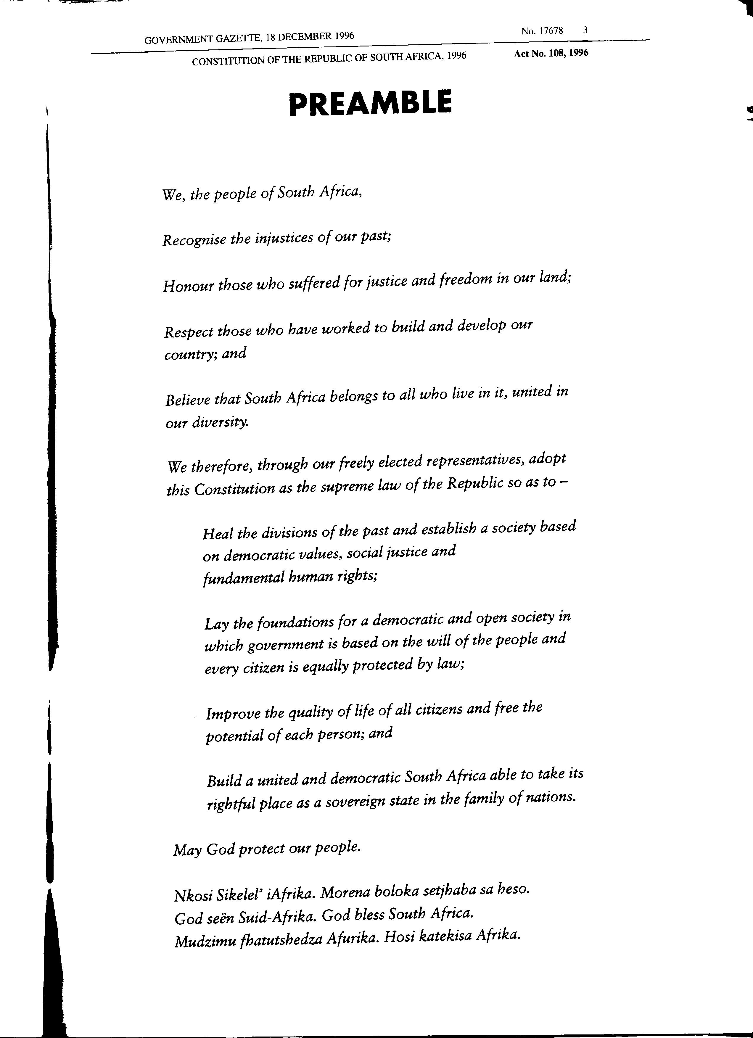 Page Constitution Of The Republic Of South Africa 1996
