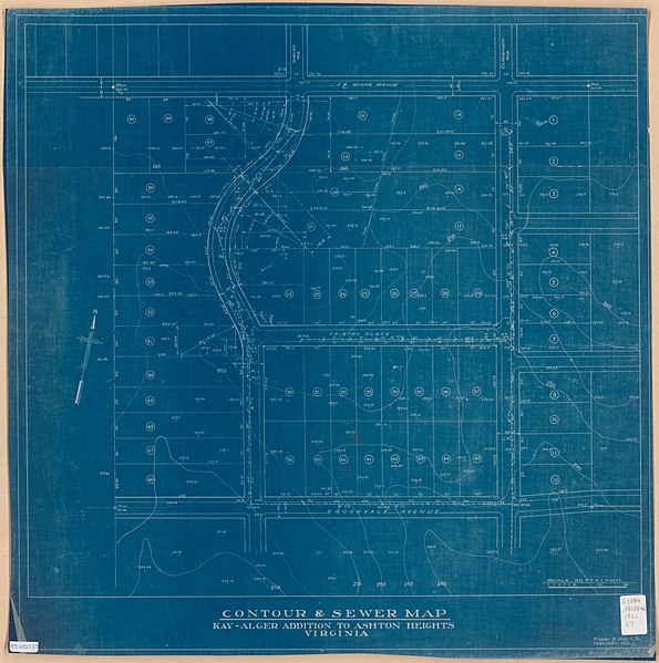 File:Contour & sewer map, Kay Alger addition to Ashton Heights