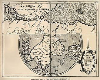 "Terra Australis - Hypothetical ""Terra Australis"" in a map by Cornelius Wytfliet from 1597"