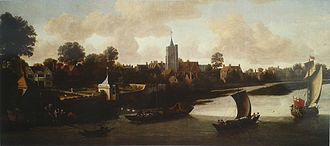 Chiswick - Painting Corney House in Chiswick from the River by Jacob Knyff, 1675-80. St Nicholas Church is in the centre.