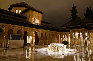 Court of the Lions courtyard in Alhambra, Granada