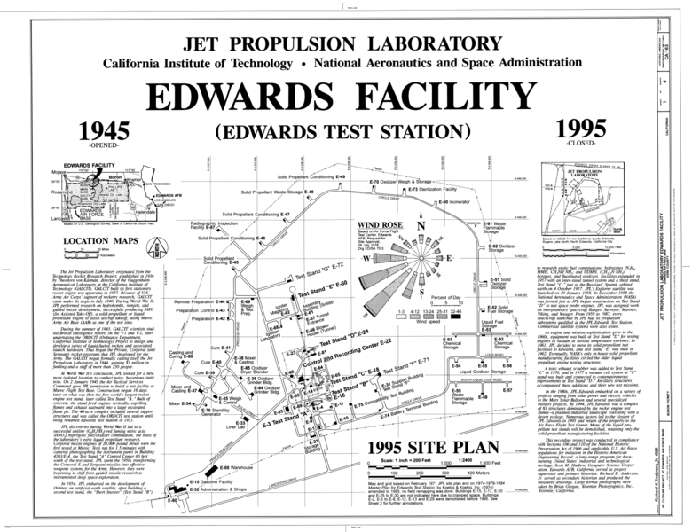 filecover sheet 1995 site plan jet propulsion laboratory edwards facility edwards
