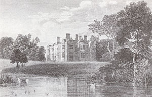 Hungerford Crewe, 3rd Baron Crewe - Garden front and lake, from an engraving of c. 1818