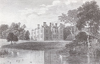 Crewe Hall - Garden front and lake, from an engraving of c. 1818