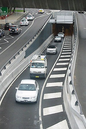 Cross City Tunnel - Cross City Tunnel exit at Sir John Young Crescent, Woolloomooloo