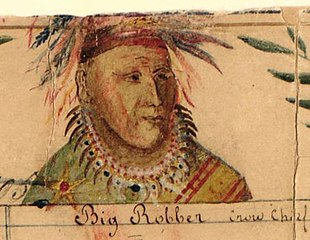 094b9d6d1 Crow Indian chief Big Shadow (Big Robber), signer of the Fort Laramie  treaty (1851). Painting by Jesuit missionary De Smet.